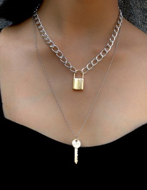 Fashion Color Mixing Love Key Lock Necklace