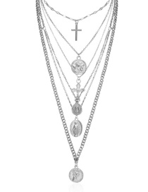 Fashion White K Geometric Cross Embossed Multi-layer Portrait Necklace