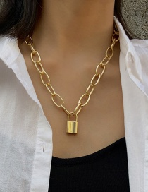 Fashion Necklace Gold Thick Chain Lock Single Layer Necklace