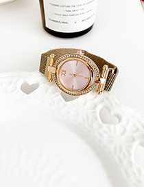 Fashion Pink Alloy Diamond-enhanced Dialable Watch