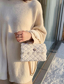 Fashion White Fur Hair Chain Lock Shoulder Bag