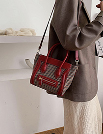 Fashion Red Woolen Smiley Shoulder Bag