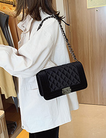 Fashion Black Gold Velvet Ribbed Chain Lock Shoulder Bag