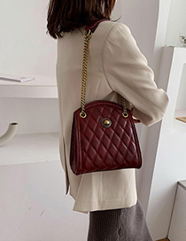 Fashion Red Pleated Thread Chain Diagonal Shoulder Bag