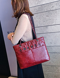 Fashion Red Pleated Chain Shoulder Bag