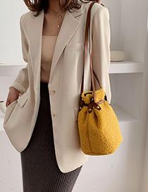 Fashion Yellow Lamb Fur Straw Belt Shoulder Bag