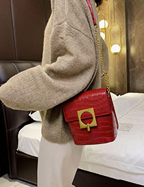 Fashion Red Stone-locked Shoulder Bag