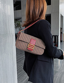 Fashion Red Plaid Wool Shoulder Bag