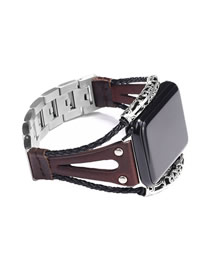 Fashion Brown Leather Stainless Steel Watch (for Apple Iwatch3/4)