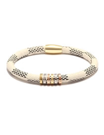 Fashion White Stainless Steel Cowhide Striped Alloy Magnetic Buckle Letter Love Bracelet