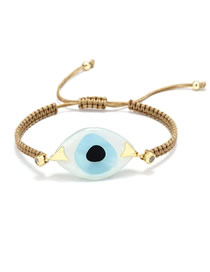 Fashion Khaki Braided Resin Eye Bracelet