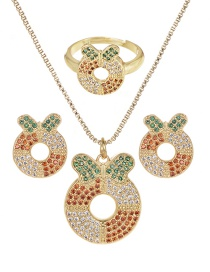 Fashion Gold Copper Inlay Zircon Christmas Series Donut Necklace Earrings Ring Set Of 3