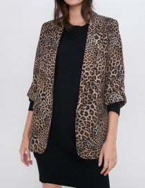 Fashion Leopard Rollable Sleeve Animal Print Suit