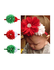 Fashion 13 Colors Mixed Stitching Pointed Flower Chiffon Flower Belt With Children's Hair Band
