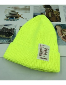 Fashion Fluorescent Yellow 1980 Labeling Knitted Wool Cap Adult (56-60)