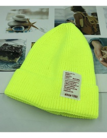 Fashion Fluorescent Yellow 1980 Labeling Knitted Wool Cap Children (48-52)