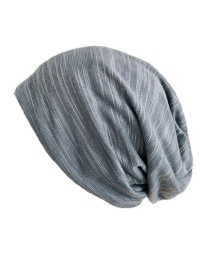 Fashion Gray Wave Pattern Head Pile Cap