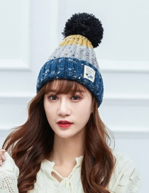Fashion Navy Large Hair Ball Color Matching Knitted Wool Cap