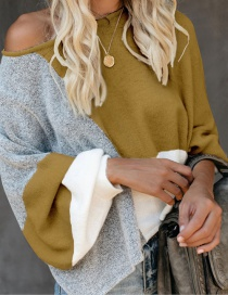 Fashion Yellow Round Neck Lantern Sleeves Contrast Color Stitching Sweater