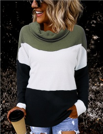 Fashion Armygreen Contrast High Collar Plaid On Pile Of Collar Stitching Thin Sweater