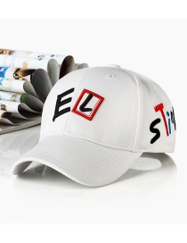 Fashion Letter El-white Embroidered Letter Cartoon Baseball Cap
