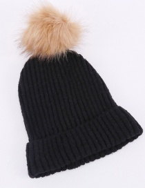 Fashion Black Faux Fox Fur Ball Vertical Knit Wool Hat
