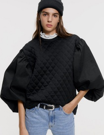 Fashion Black Poplin Sleeves Cotton Sweater