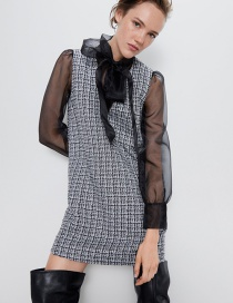Fashion Black Organza Stitching Tweed Dress