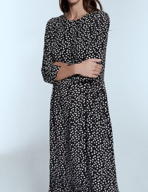 Fashion Black Polka Dot Flute Dress