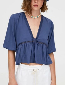 Fashion Blue Lace-trimmed Blue Crepe Top