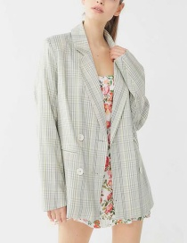 Fashion Green Fresh Green Plaid Thin Blazer