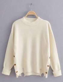 Fashion White Buttoned Sweater On Both Sides