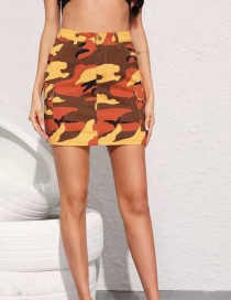 Fashion Color Orange Camouflage Skirt