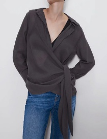 Fashion Dark Gray Front Blouse