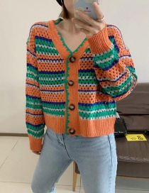 Fashion Green Colorful Striped Knit Cardigan