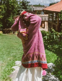 Fashion Pink Crocheted Sweater Cardigan