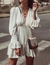 Fashion White Ruffle Dress