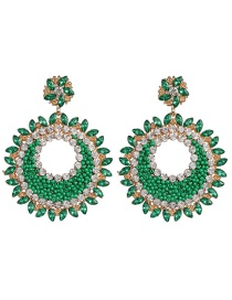 Fashion Green Geometric Round Inlaid Glass Earrings