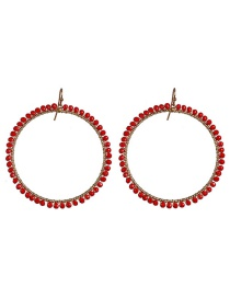 Fashion Red Full Diamond Round Bead Earrings