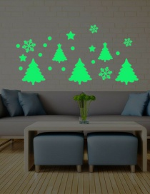 Fashion Green Christmas Tree Snowflake Luminous Wall Sticker