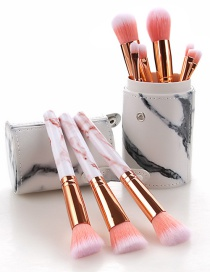 Fashion Pink 10 Sticks Of Marble Handle Makeup Brush With Bucket
