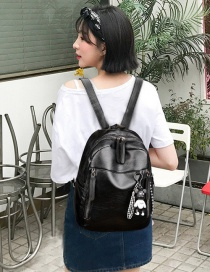 Fashion Black Soft Leather Zipper Backpack