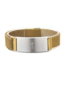 Fashion Gold Stainless Steel Scripture Cross Magnetic Buckle Bracelet