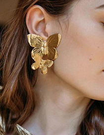 Fashion Gold Alloy Double Butterfly Earrings