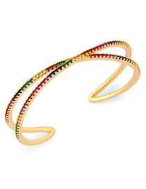 Fashion Opening X Copper Plated Gold And Zircon Cross-cut Bracelet