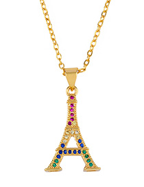 Fashion Tower Stars And Moons Set With Colored Diamond Necklace