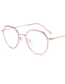 Fashion Pink Purple Frame Gold Legs Round Flat Mirror