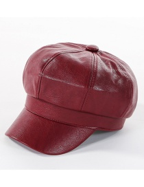 Fashion Wine Red Leather Beret