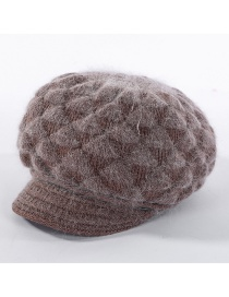 Fashion Coffee Color Plush Knitted Pineapple Flower Rabbit Fur Cap