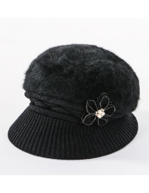 Fashion Black Double-layer Plus Velvet Knitted Rabbit Hair Flower Pearl Basin Cap